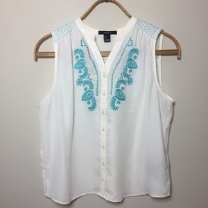 Forever 21 Cream sheer top with green embroidery.